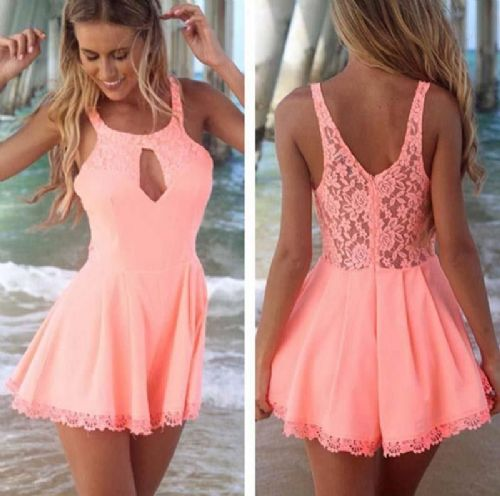 Sexy Women Girls Back Lace Chiffon Sleeveless Evening Party Shorts Mini Dress